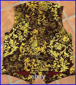Gianni Versace Versus 90s Baroque Barocco Medusa Vest Waistcoat Rare Italy 52