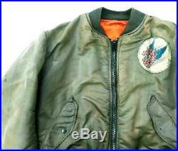HOT VINTAGE USA Men AVIREX @ MA-1 FLYER'S Patched BOMBER OLIVE JACKET M Medium