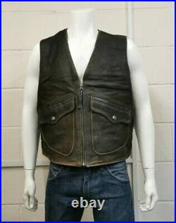 Harley Davidson Nubook 100% Leather zip up front Gilet / Waistcoat / Biker Large