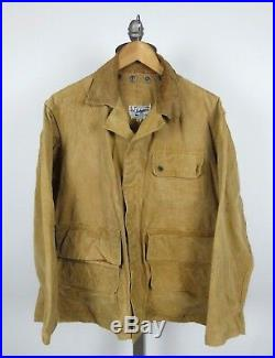 Hinson Bodyguard 1940s / 50s Duck Brown Canvas Hunting Jacket Coat Sz 46 XL
