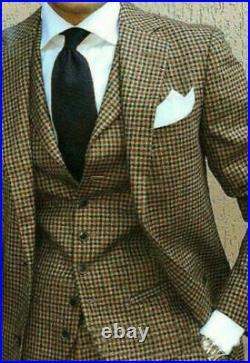 Houndstooth Blazer Jacket Vest Pants Men Suits Wedding Business Dinner Tuxedos