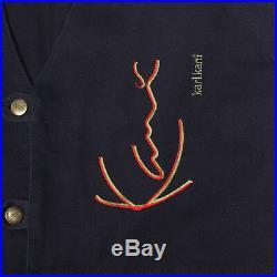 KARL KANI Jeans Vintage Streetwear Urban Embroidered Spellout Dark Blue Vest XL