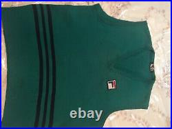 Kelly Green Fila Tennis Sweater Vest. Professional Logo. Made In ITALY, 1970s