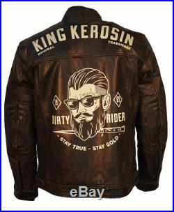 King Kerosin Biker Lederjacke Dirty Rider Antik Braun 50er/ 60er Rocker Style