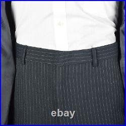 L 1970s Mens Navy Suit 3pc Blue Pinstriped Blazer Vest Flat Front Pants 70s VTG