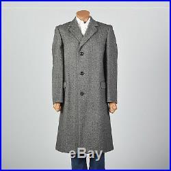 Large 1970s Mens Wool Tweed Overcoat VTG Aquascutum Herringbone Long Tall Coat