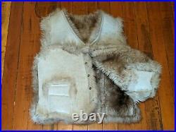 Large Caribou Clothes Vintage Reversible Vest Lambskin Wool Size L / XL Leather