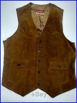 Late 1960-70's LEVIS VINTAGE ORANGE TAB Cowhide Tan Suede Leather Vest Size M