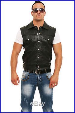 Lederweste echt Leder Weste Kutte Biker Druckknöpfe Taschen schwarz alle Größen