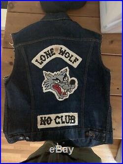 Levis Big E Vest W Lone Wolf Chain Stitch Patch