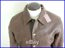 Levis Mens Vintage Clothing Strauss Italian Leather Jacket Brown Distressed NWT