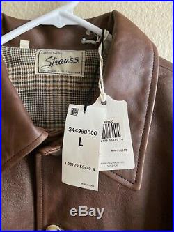 Levis Mens Vintage Clothing Strauss Italian Leather Jacket Brown NWT SZ Large
