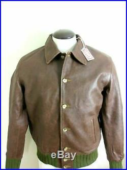 Levis Mens Vintage Clothing Strauss Italian Leather Jacket Brown Size Medium NWT
