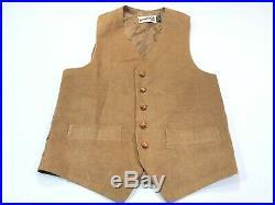 Levis Panatela 38R Mens Brown 2 Piece Sport Coat Vest Vintage Corduroy