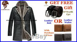 Lionstar Newage Top Quality Men Real Leather Extra Warm Winter Coat with Fur