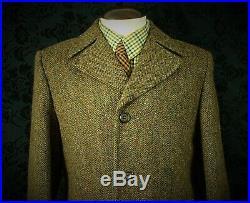 Lovely Mens Cinch Belt Vintage Harris Tweed Coat Overcoat Size 42 Large