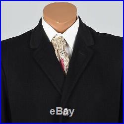 M Vintage 1950s 50s Mens Black Cashmere Top Coat Overcoat Spring Fall Winter