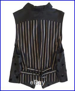 MATSUDA Men's Vintage Embellished Black Rayon Striped Cotton Vest M