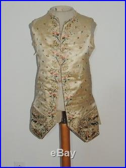 Man's Hand Embroidered Silk Vest 1800TH C / 1700's