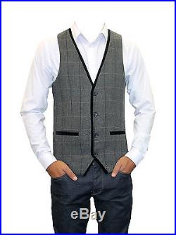 Marc Darcy Designer Mens Tweed Charcoal Vintage Checkered Herringbone Waistcoat