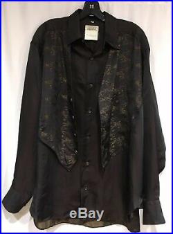 Matsuda Vintage Mens Button Up Shirt Attached Vest Racing Dog Print, Medium