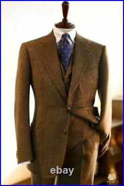 Men Suits Wool Blend Brown Herringbone Vintage Tweed Formal Tuxedos Blazer Pants