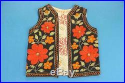 Men's EMBROIDERED FLOWER Vintage Vest Size Large L 60s Hippie Gypsy Shirt