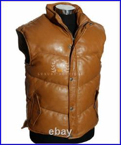 Men's Everest Puffer Tan New Down-Fill Real Lambskin Leather Military Waistcoat