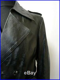 Men's Jackson the Tailor 1970's Vintage Leather Trench Coat Wide Lapels S 38R
