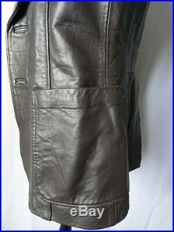 Men's Original 1960's Vintage Leather Coat Overcoat Wide Lapels XXS 34R