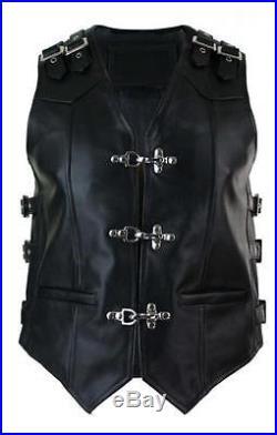 Men's Real Leather Cow Black Heavy Duty Motorcycle Biker Vest Waistcoat