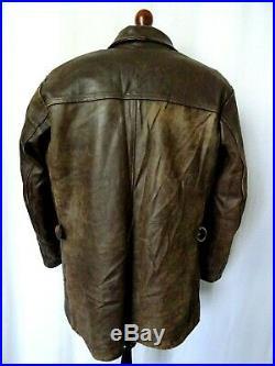 Men's Vintage 1940'S French Resistance Mackinaw Leather Jacket 44-46R (XL)