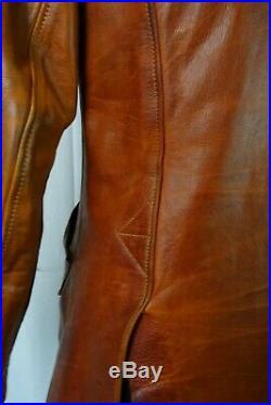 Men's Vintage 1940's Horsehide Leather Car Coat Motorcycle Sports Jacket 36R XS
