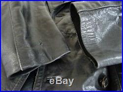 Men's Vintage 1940's WW2 Horsehide Leather Gestapo Trench Coat 42R