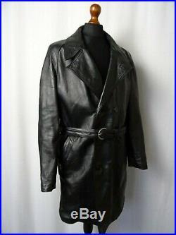 Men's Vintage 1970's Leather Trench Coat 44R (L)
