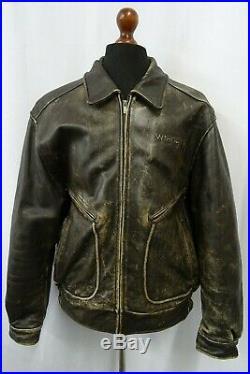 Men's Vintage 1980'S Wrangler Cowhide Motorcycle Pilot Leather Jacket 46R (XL)
