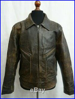 Men's Vintage Chevignon Raiders Leather Flight Biker Jacket XL 46R