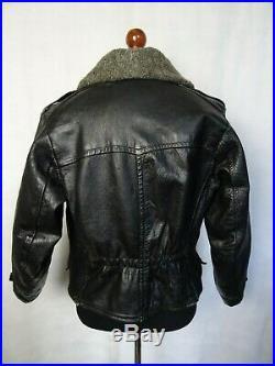 Men's Vintage French 1940's Goatskin Leather Flying Biker Jacket 40R (S)