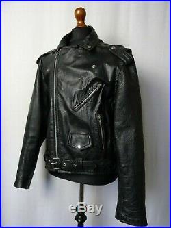 Men's Vintage Leather Biker Jacket 48R (XXL)