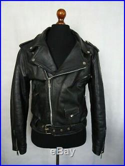 Men's Vintage Leather Brando D-Pocket 1980's A. M. I Biker Jacket 42R (M)