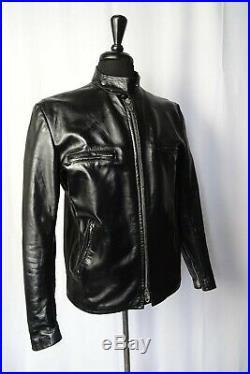 Men's Vintage Leather Cafe Racer Motorcycle Biker Jacket 40R S/M