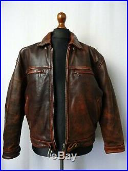 Men's Vintage Leather Flight Jacket 42 Size Medium
