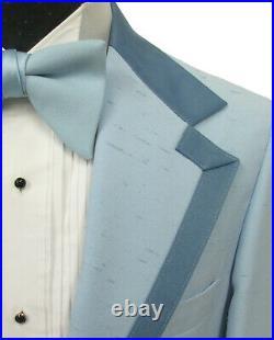 Men's Vintage Light Blue Tuxedo with Pants, Vest, & Bow Tie 1970's Prom 38R
