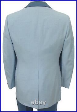 Men's Vintage Light Blue Tuxedo with Pants, Vest, & Bow Tie 1970's Prom 42XL