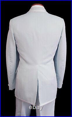 Men's Vintage Light Blue Tuxedo with Pants, Vest, Ruffle, & Bow Tie 40S 31W