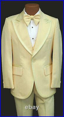 Men's Vintage Yellow Tuxedo with Pants Vest Ruffle & Bow Tie 1970's Prom 35R 29W