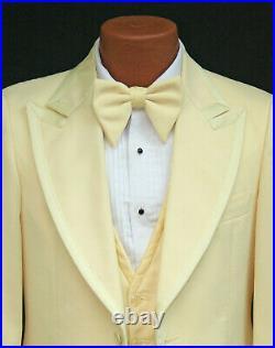 Men's Vintage Yellow Tuxedo with Pants, Vest, Ruffle, & Bow Tie Retro 70's 38R