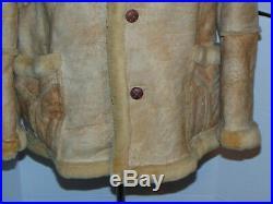 Men's Vtg Marlboro Man Sears Shearling Sheepskin Leather Rancher Jacket! 42 Tall