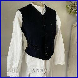 Men's vest or waistcoat black Timeworn vest French vintage clothing 1900