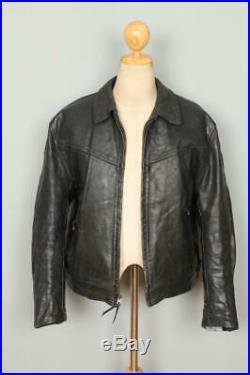 Mens AERO Zip Sleeve Highwayman STEERHIDE Leather Motorcycle Jacket 46